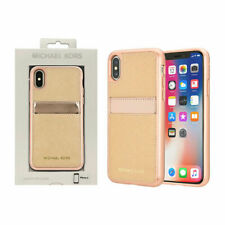 NEW Michael Kors Saffiano Leather Pocket Case For iPhoneX Rose Gold Ballet NIB
