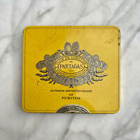 Vintage Partagas Yellow Tin Advertising Pocket Sized Cigar Box