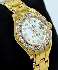 ROLEX  MASTERPIECE 69298 18K YELLOW GOLD MOP DIAL FACTORY DIAMOND BEZEL LADIES