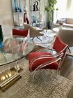 TWO MID CENTURY MODERN UNIQUE LUCITE AND VELVET DOUBLE CURVE ARMCHAIRS