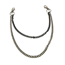 Nickel And Black Double Thin Gothic Punk Rock Jean Metal Chain Y1431
