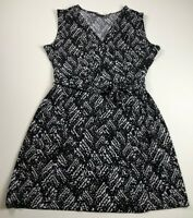 Apt 9 Women's Sleeveless Crossover Front Dress XL Black White Abstract Stretch