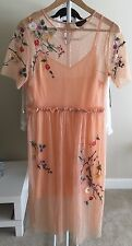 Topshop Peach Pink Embroidered Floral Mesh Midi Dress Size US 6/ UK 10