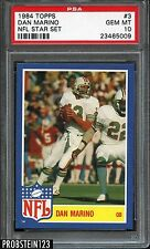 1984 Topps NFL Star Insert #3 Dan Marino Dolphins RC Rookie PSA 10 POP 2 ONLY