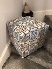 """Melin Tregwynt Welsh Cube Foot Stool 16"""" Bespoke Handmade Knot Garden Bluestone"""