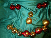 ~ Konvolut 14 alte große Christbaumkugeln Glas rot gold Weihnachtskugeln CBS ~