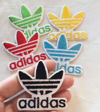 "Black Adidas Logo Embroidered Patch Iron On 2"" Traditional Adidas Symbol"