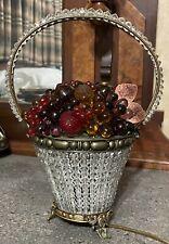 Antique Czech Bohemian Art Deco Beaded Glass Fruit Basket Lamp