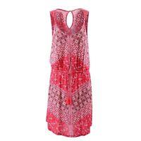 Lucky Brand Nora Floral Twist Strap Shift Dress Red Tassels Sz L NWT Drawstring