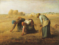 Oil painting The Gleaners Farmers who work hard in Harvest season canvas