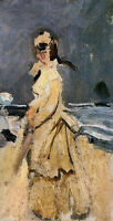 Oil painting Claude Monet - Camille on the Beach impressionism portrait