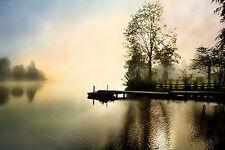 Irene Weisz: Spillway Fertig-Bild 60x90 Wandbild See Steg Nebel