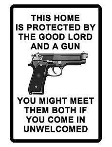 NO TRESPASSING Sign Gun and God DURABLE ALUMINUM SIGN NO SOLICITING SIGN #03622