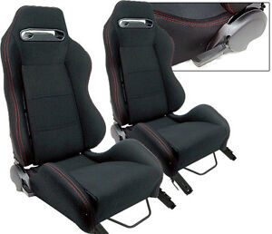 NEW 1 PAIR BLACK CLOTH & RED STITCHING ADJUSTABLE RACING SEATS CHEVROLET *
