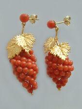 Ohrschmuck Gold 750 mit Weintrauben aus Korallen Ohrstecker - Ohrhänger Koralle