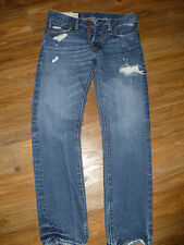 ABERCROMBIE & FITCH ~ROLLINS~ Low Rise SKINNY Men's 28 X 30 Button Fly DESTROYED