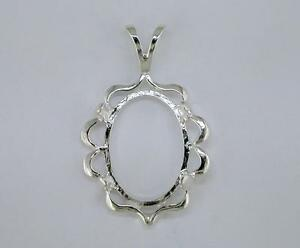 Oval Cabochon Cameo Pendant Setting Sterling Silver