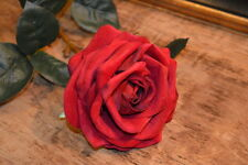 Realistic Rich Red Velvet Rose, Artificial Faux Silk Flowers, Balmoral Roses