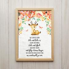 Leben ist Schön Kunstdruck A4 Reh Tier Spruch Kinderzimmer Bild Deko Geschenk