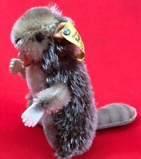 Steiff Stuffed Beaver, Made in Germany, Tag with Button, 2120/10, 4 Incheas Tall
