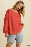 Umgee French Terry Linen Blend Long Sleeve Knit Top Size Small Medium Large