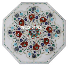 """15"""" White Marble Center Table Top Carnelian Marquetry Multi Inlay Hallway Decor"""