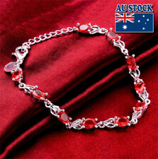 Wholesale 925 Sterling Silver Filled Ruby Crystal Tennis Bracelet Chain Jewelry