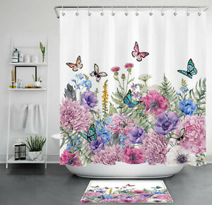 Spring Flowers Green Leaves Color Butterfly Waterproof Fabric Shower Curtain Set