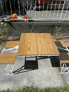 Folding Picnic Table 4 Seats Portable Outdoor Camping Vintage Aluminum Tailgate