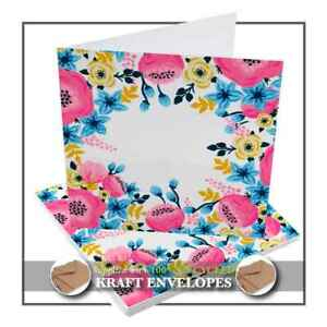 Floral Design 5 Blank Greetings Cards with Recycled Envelopes - Square