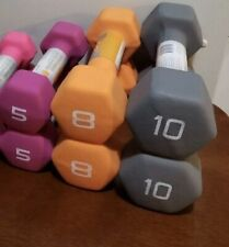 New Tags Dumbbell Weight Set of 5 Lb 8 Lb 10 Lb CAP Hex Neoprene Fast Shipping