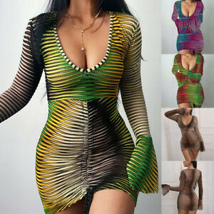 Sexy Womens Mesh Long Sleeve V-Neck Striped Drawstring Bodycon Party Mini Dress