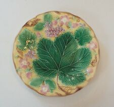 """19th C. ENGLISH WEDGWOOD MAJOLICA 9"""" PLATE, STRAWBERRY & GRAPE with LEAF DESIGN"""