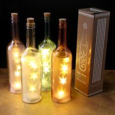 Single Glass Wine Bottle Light - LED Stars Lamp BOXED - UK Stock - Battery Op
