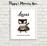 Personalised Boys Superhero Nursery Decor New Baby Batman Birthday Gift Print