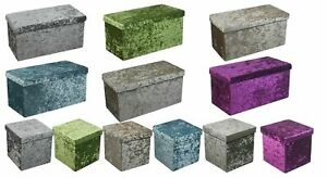 New Quilted Top Folding Storage Ottoman Seat Storage Box Crushed Velvet Home
