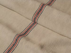 Antique European Feed Sack GRAIN SACK Red & Blue Stripe # 10508
