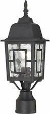 """Nuvo Banyan 1 Light 17"""" Outdoor Post with Clear Water Glass"""