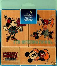 Mickey Mouse Memories ~ 4 piece Disney Wood Mount Rubber Stamp Set #48205, New