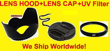 FLOWER LENS HOOD+FILTER UV+CAP 58mm AptTo camera CANON 70-300mm 75-300mm 90-300