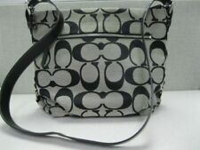NWT coach 15067 Signature 24 CM Duffle shoulder bag/Cross body PURSE BLACK/WHITE