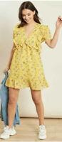 Boohoo Dress Yellow Floral Ruffle Detail Tea Dress Size 8 EK13 NEW