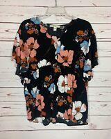 Ella Moon Boutique Women's L Large Black Floral Short Sleeve Fall Top Blouse