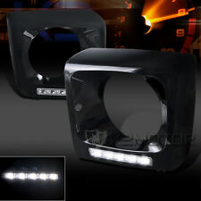 Benz 02-14 W463 G500/G550/G55 Glossy Black Headlight Frames Cover+5 SMD LED DRL