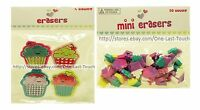 CUPCAKE Shaped Set ERASERS Great For School GIRLS Pink+Purple+MORE *YOU CHOOSE*