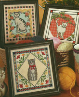Fancy Felines 3 Cats Kitties Counted Cross Stitch Pattern Charts from a magazine