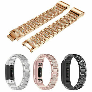 Luxury Stainless Steel Diamond Strap Watch Band For Fitbit Charge 4 3 Bracelet