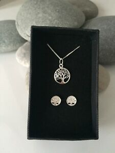 Sterling Silver Tree Of Life Jewellery. Tree Of Life Necklace Set. Tree Of Life
