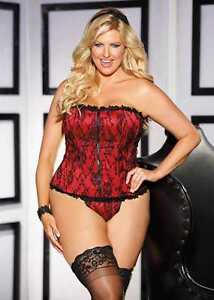 Shirley of Hollywood Lace Overlay Satin Corset, Plus Size
