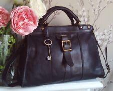 Fossil Vintage Revival Black Leather Satchel Shoulder Bag Holdall Key